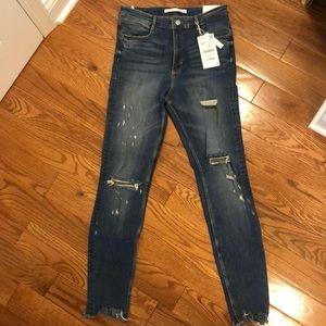 Zara trafaluc denim jeans destroyed skinny